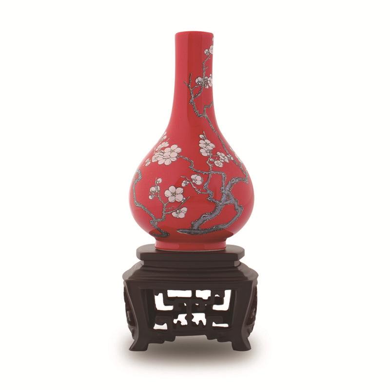 大红梅花胆瓶(铜红釉粉彩梅花胆瓶) 台北故宫礼品