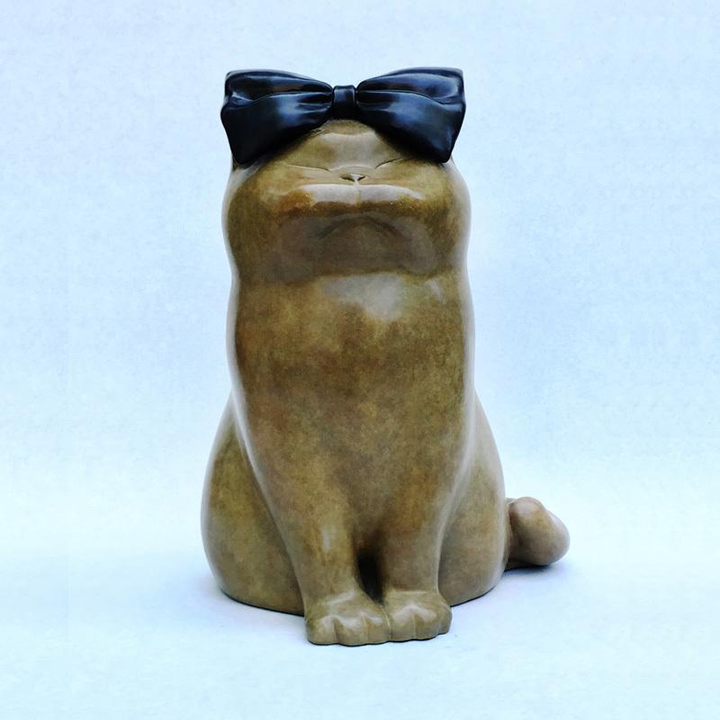 胖猫铸铜摆件